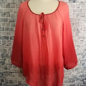 Notations Loosefit Red Pink Ombre Peasant Top L